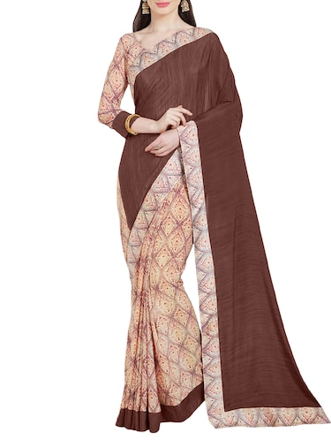 brown crepe half and half saree with blouse - 14988624 - Standard Image - 1