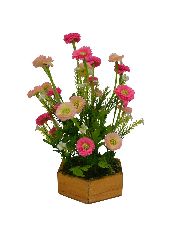 Buy Artificial Daisy Flower 27 Cm 105 Inchs In Hexa Wood Pot By