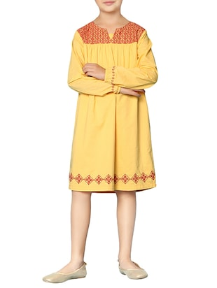 yellow cotton frock - 15000007 - Standard Image - 1