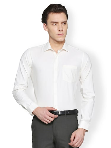 off white cotton formal shirt - 15007172 - Standard Image - 1