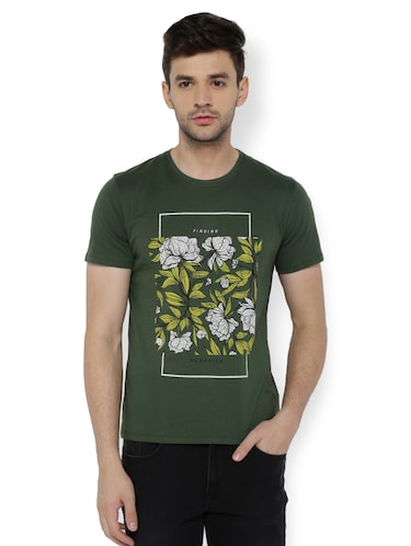 green cotton chest print t-shirt - 15007320 - Standard Image - 1