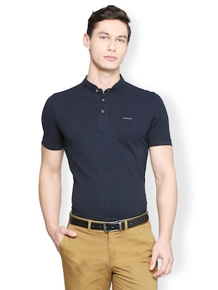 navy blue cotton t-shirt - 15007338 - Standard Image - 1