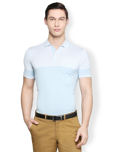 light blue cotton pocket t-shirt - 15007345 - Standard Image - 1