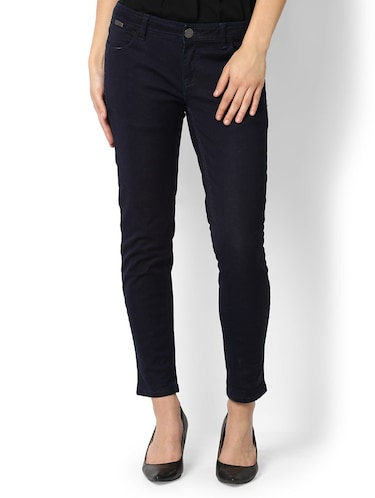 navy blue solid denim jeans - 15007369 - Standard Image - 1