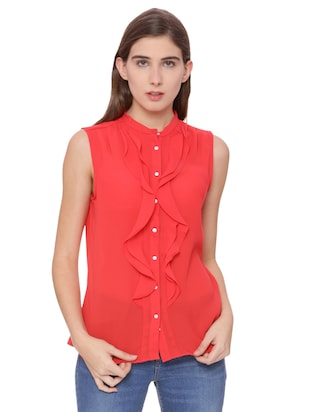 Button down ruffled top - 15007485 - Standard Image - 1