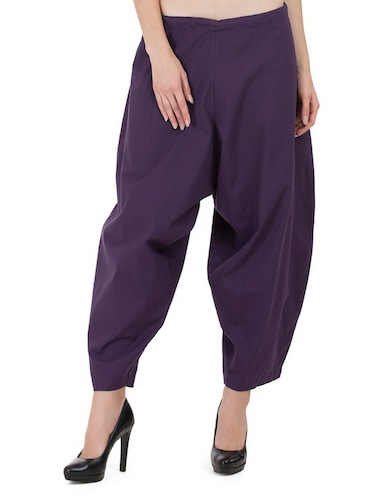 GRASS by Gitika Goyal purple cotton wide leg trouser - 15008111 - Standard Image - 1