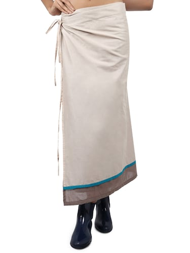 beige solid cotton wrap skirt - 15008122 - Standard Image - 1
