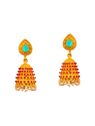multi colored brass jhumka earrings - 15008750 - Standard Image - 1