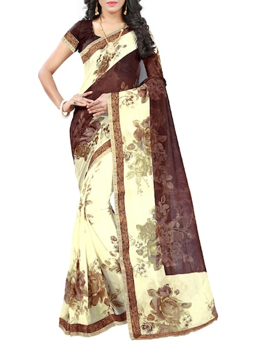 cream georgette printed saree with blouse - 15009577 - Standard Image - 1