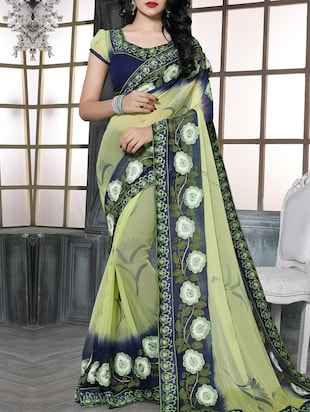 yellow chiffon embroidered saree with blouse - 15009853 - Standard Image - 1