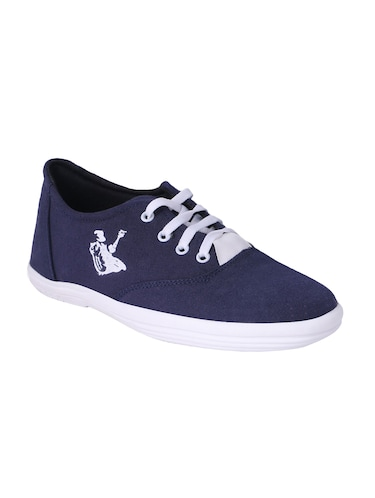 navy Canvas lace up sneaker - 15009880 - Standard Image - 1