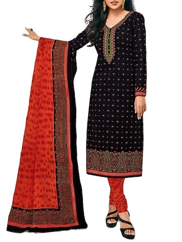 black churidaar suit unstitched suit - 15009966 - Standard Image - 1