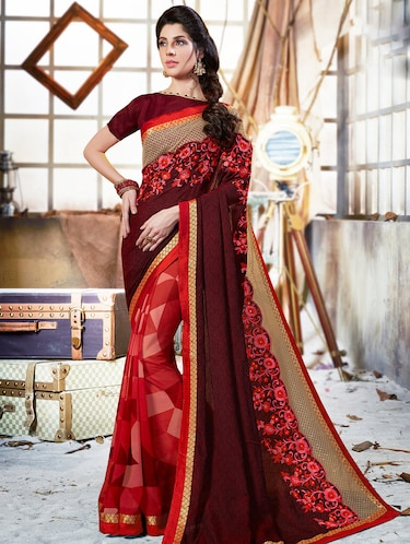 maroon georgette embroidered saree with blouse - 15009984 - Standard Image - 1