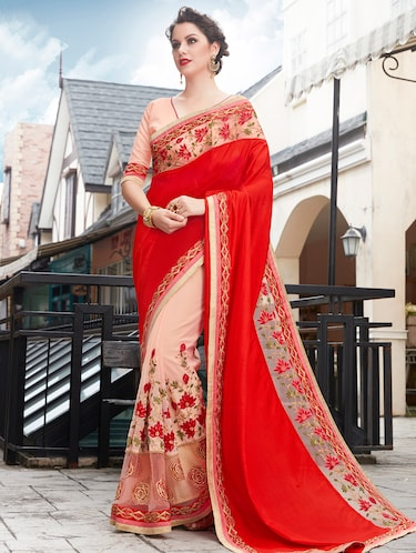 red net half and half saree with blouse - 15009988 - Standard Image - 1