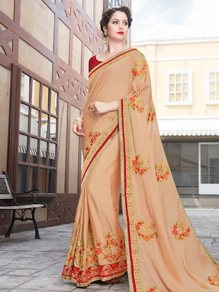 beige georgette embroidered saree with blouse - 15009998 - Standard Image - 1