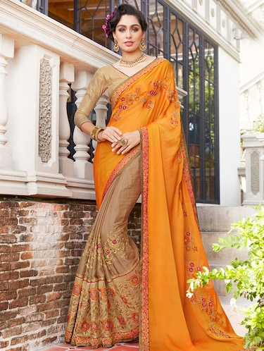 orange georgette half and half saree with blouse - 15010057 - Standard Image - 1