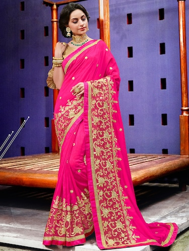pink art silk embroidered saree with blouse - 15010067 - Standard Image - 1