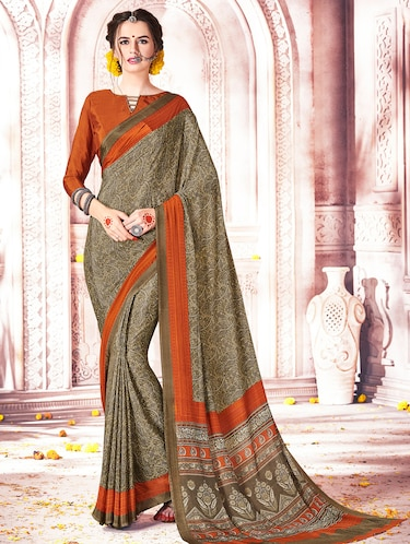 beige crepe printed saree with blouse - 15010079 - Standard Image - 1