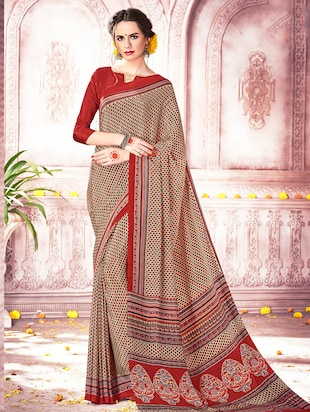 beige crepe printed saree with blouse - 15010083 - Standard Image - 1