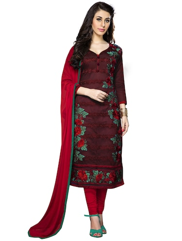 maroon cotton churidaar suits unstitched suit - 15010202 - Standard Image - 1