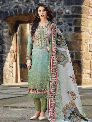 green cotton straight pant suits semistitched suit - 15010449 - Standard Image - 1