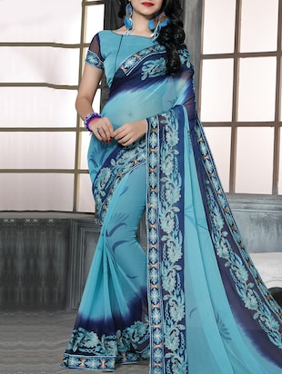 sky blue chiffon embroidered saree with blouse - 15010561 - Standard Image - 1