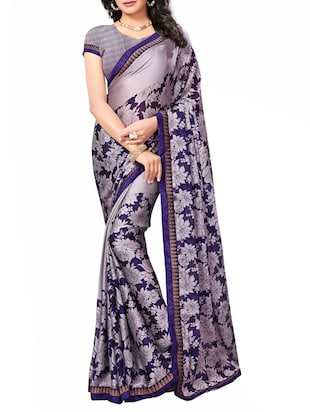 Floral printed saree with blouse - 15010594 - Standard Image - 1