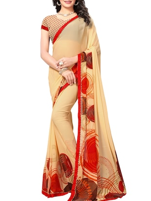 beige georgette printed saree with blouse - 15010609 - Standard Image - 1