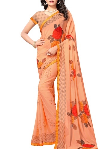 orange georgette printed saree with blouse - 15010611 - Standard Image - 1