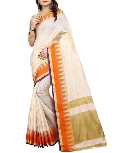 temple bordered art silk saree with blouse - 15010639 - Standard Image - 1