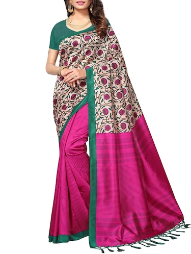 Ditsy floral printed saree with blouse - 15010651 - Standard Image - 1