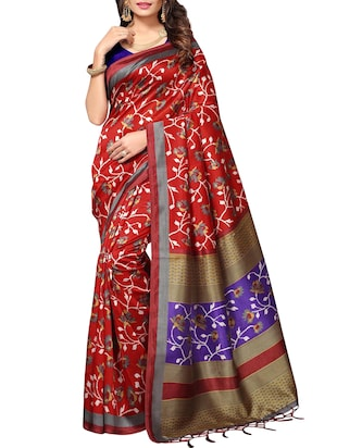 Ditsy floral printed saree with blouse - 15010652 - Standard Image - 1