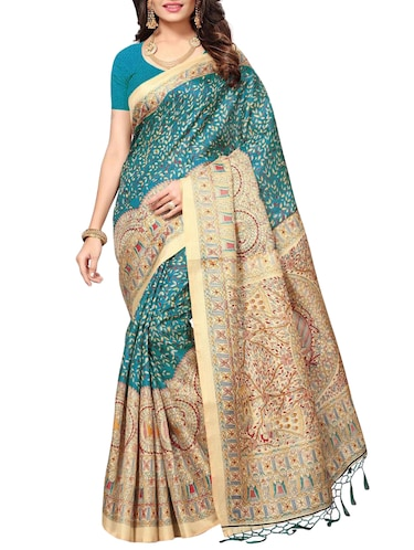 turquoise art silk printed saree with blouse - 15010669 - Standard Image - 1