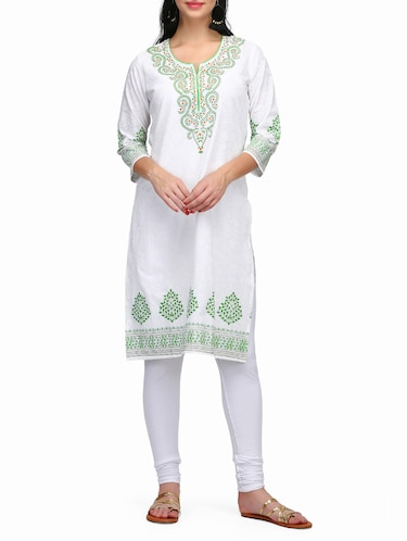 white cotton straight kurta - 15011424 - Standard Image - 1