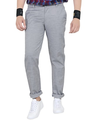grey cotton chinos - 15011514 - Standard Image - 1