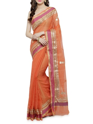 contrast border gota patti saree with blouse - 15012147 - Standard Image - 1