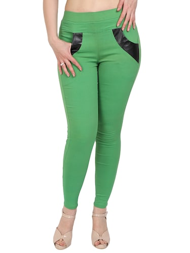 green solid jeggings - 15012450 - Standard Image - 1