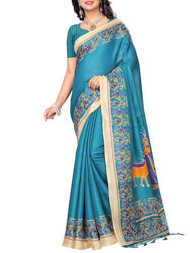 turquoise khadi printed saree with blouse - 15012651 - Standard Image - 1