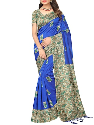 blue silk blend mysore saree with blouse - 15012713 - Standard Image - 1