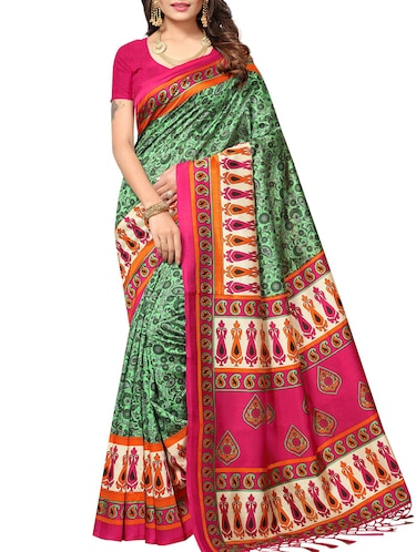 green tussar silk printed saree with blouse - 15012986 - Standard Image - 1
