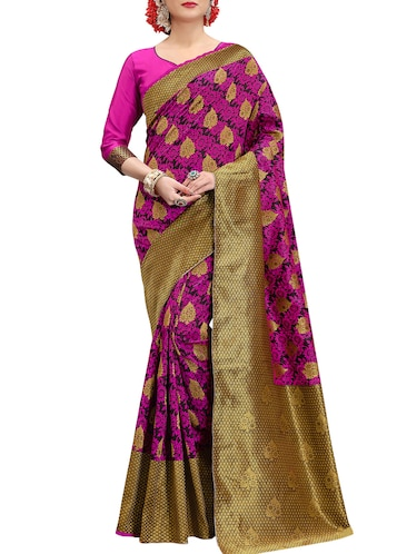 pink banarasi silk saree with blouse - 15013170 - Standard Image - 1