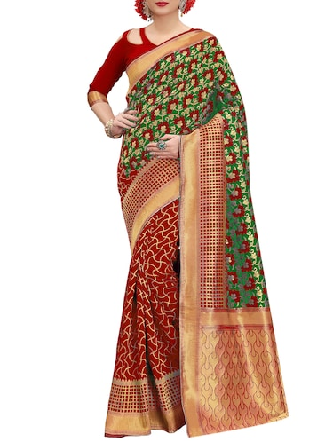 green banarasi silk saree with blouse - 15013191 - Standard Image - 1