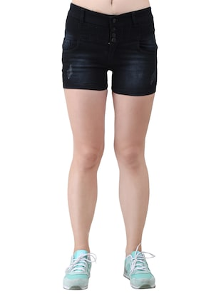 black solid denim shorts - 15013212 - Standard Image - 1