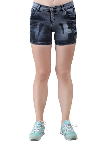 blue solid denim shorts - 15013214 - Standard Image - 1