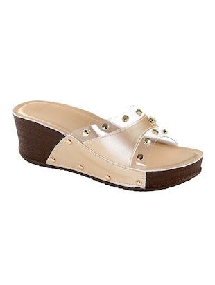 gold faux leather slip on wedges - 15013260 - Standard Image - 1