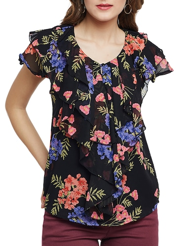 Ruffled key hole front floral top - 15013544 - Standard Image - 1