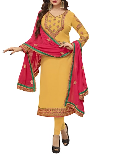 yellow embroidered semi-stitched suit - 15013554 - Standard Image - 1
