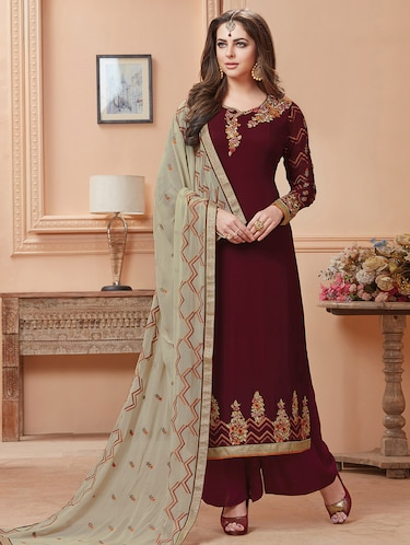 maroon plazoo suits semi-stitched suit - 15013653 - Standard Image - 1