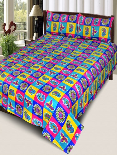 PolyCotton Double Bedsheet With 2 Pillow Covers - 15013966 - Standard Image - 1