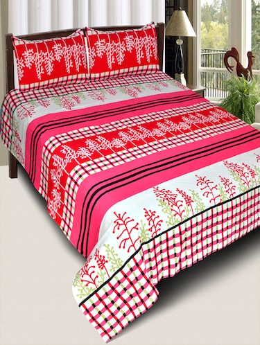 PolyCotton Double Bedsheet With 2 Pillow Covers - 15013974 - Standard Image - 1